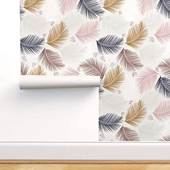 Spoonflower Peel And Stick Removable Wallpaper Tropical Palm Leaf Bohemian Boho Indie Nursery Print Self Adhesive Wallpaper 12in X 24in Test Swatch Amazon Com
