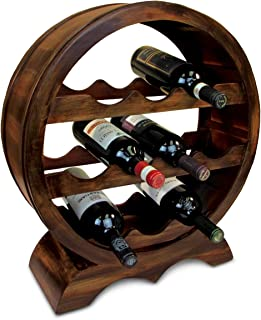 Puzzled Solomon Wine Rack 10 Bottle Free Standing Wine Holder Bottle Rack Floor Stand Or Countertop Wine Wooden Barrel Decor Storage Organizer Liquor Display to Decorate Home Kitchen Bar Accessory