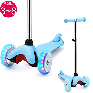 SAMTOYS Scooter for Kids - 3 Wheels Adjustable Kick Scooter with LED Light Up Jelly Wheels,for Girls Boys 3 to 8 Years Old/5 to 12 Years Old Best Gift for Birthday or Christmas for Girls and Boys