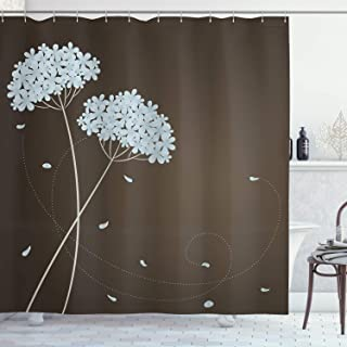 Ambesonne Brown and Blue Shower Curtain, Floral Design with Swirl Lines Falling Leaves Autumn Inspired, Cloth Fabric Bathroom Decor Set with Hooks, 70