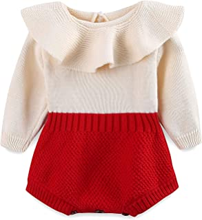 Baby Girl Knit Rompers Collar Sweet