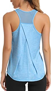 Aeuui Workout Tops for Women Mesh Racerback Tank Yoga Shirts Gym Clothes