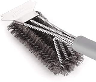 Best BBQ Brush and Grill Scraper,Unique 3 in 1 Bristles Guarantee 100% Rust Resistant Stainless Cleaning Brush - Safe For Porcelain, Ceramic,Steel,Iron-Great Grilling Accessories Gift,Gray