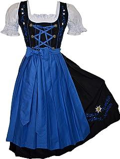 فستان حفلات أكتوبرفيست ألماني أسود طويل 3 قطع من Edelweiss Creek