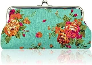 MOCA Women's Canvas Floral Kiss-lock Purse Clutch (Turquoise, MJ-008H)