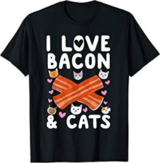 Bacon Orange White Cat Gift Drawing I Love Bacon & Cats T-Shirt
