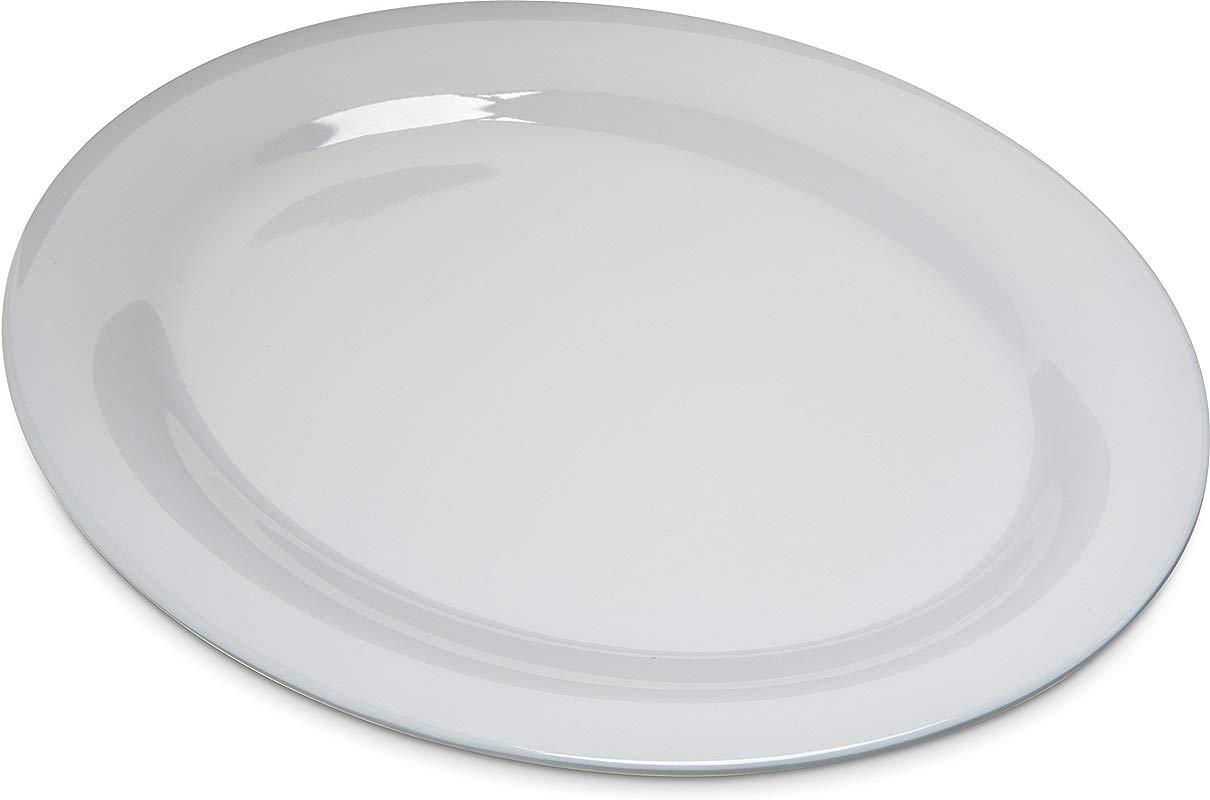 Carlisle 4308202 Durus Melamine Oval Serving Dinner Platter 12 X 9 White Pack Of 12