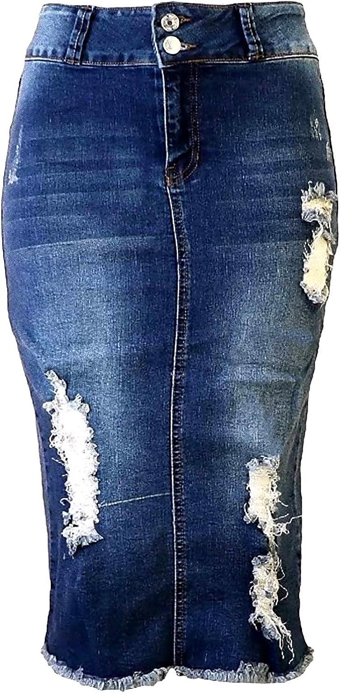 Jack David Womens Plus Size Stretch Denim Jeans Twill Cotton Button Front Skirt Modern