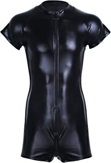 FEESHOW Men's Faux Leather Mesh Short Sleeves Zipper One Piece Leotard Bodysuit Catsuit with Mesh Side