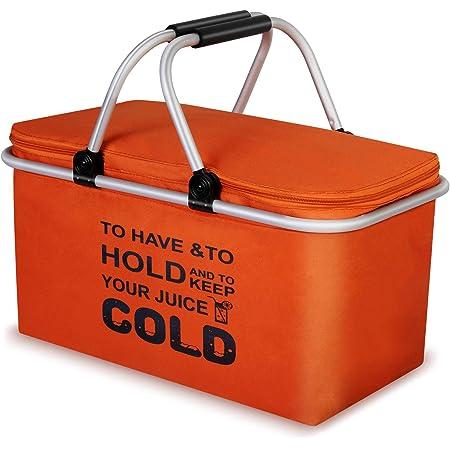 クーラーバスケット クーラーボックス 32L 大容量 クーラーバッグ 折り畳み式 ピクニックバスケット 保温保冷バッグ アウトドア お花見/バーベキュー/釣り/キャンプ/運動会/行楽など適用 (オレンジ)