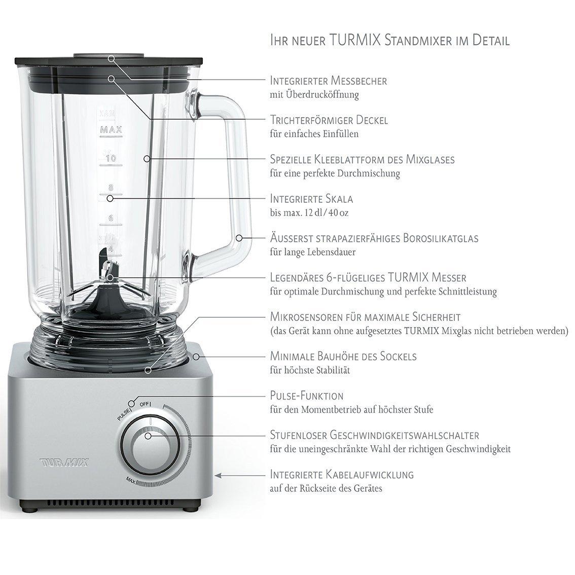Turmix TM33141 Batidora de vaso 450W Negro, Plata, Transparente - Licuadora (9000 RPM, 15000 RPM, Batidora de vaso, Negro, Plata, Transparente, 1,2 m, 450 W): Amazon.es: Hogar