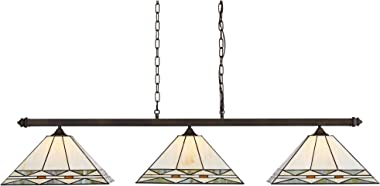 "Pleske Bronze Large Linear Island Pendant Chandelier 56"" Wide Tiffany Style Mission Square Art Glass 3-Light Fixture for Kitchen Island Dining Room - Robert Louis Tiffany"