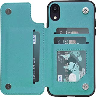 iPhone XR Case XR Wallet Credit Card Holder Case,ACXLIFE Protective Hybrid Cover with Card Slot Holder and Leather Magnetic Closure Case for iPhone XR 6.1 Inch (Green)