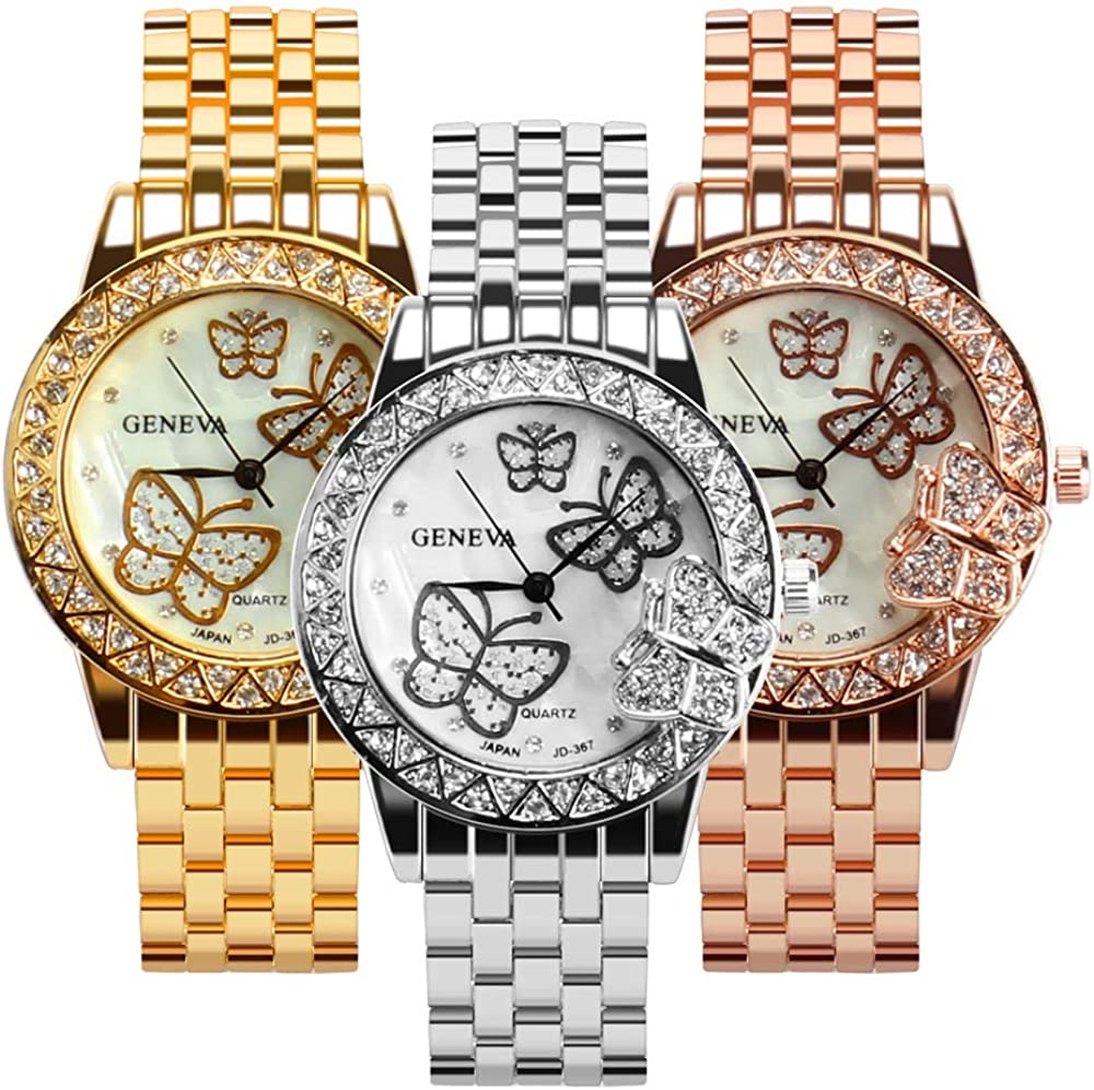 Weicam Women 3 Pc Phoenix Mall Simple Crystal Butterfly 2021new shipping free Quartz Watch W Analog