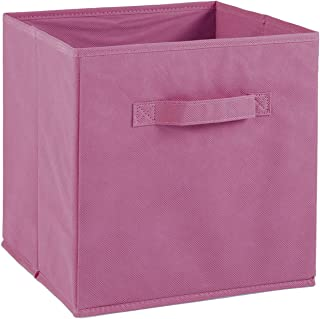 Compo Boîte de Rangement Tiroir avec Poignée en Tissu Rose 27 x 27 x 28 cm