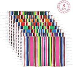 Mexican Table Place Mats, Meican Fiesta  Mats, Mexican Serape Assorted Place Mats, Mexican Party Wedding Decorations, Fringe Serape Blanket Table Runner 19x 13 Inch (8 Colors Separate Placemats)