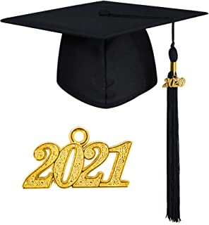 GraduationMall Graduation Cap for Adults - Unisex Matte Academic Mortarboard with Tassel Year Charm 2021 12 colours