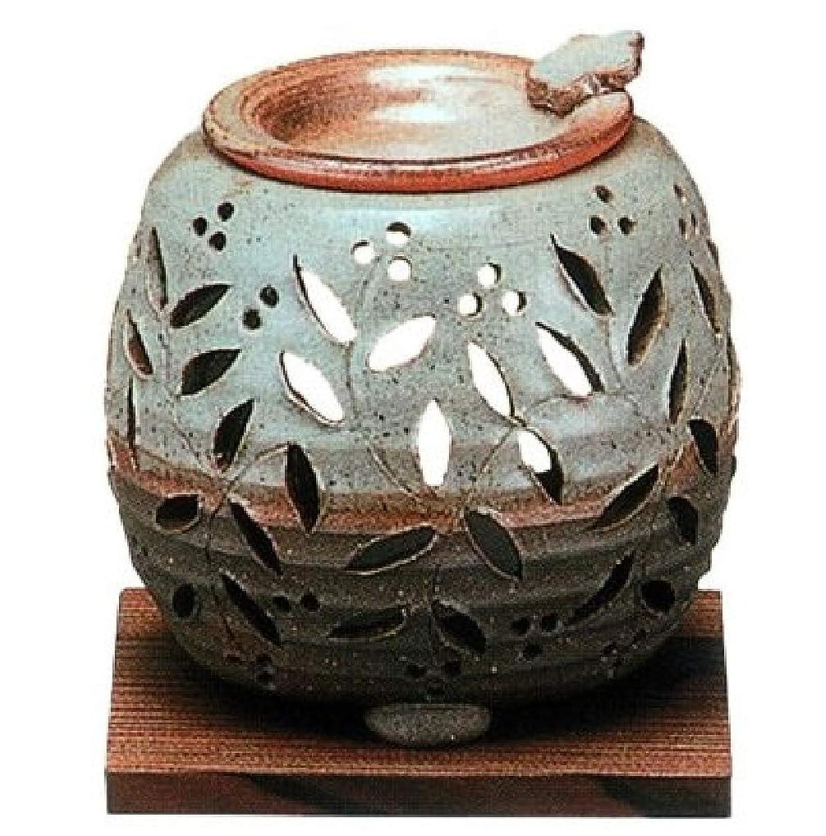 家族義務付けられた潮常滑焼?石龍窯 カ38-10 茶香炉 焼杉板付 径10×10cm