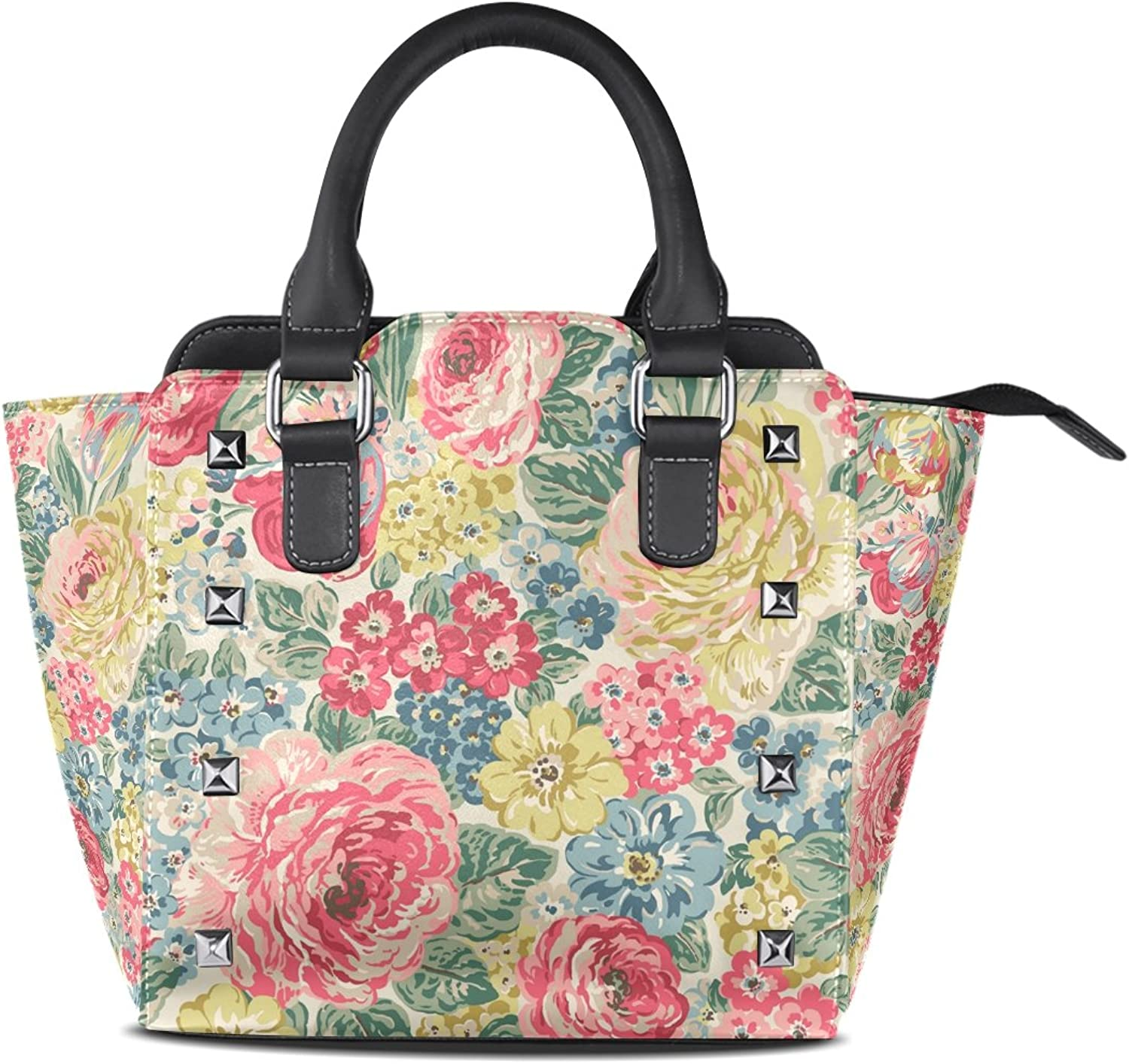 Sunlome Orchard Bloom Floral Print Women's Leather Tote Shoulder Bags Handbags