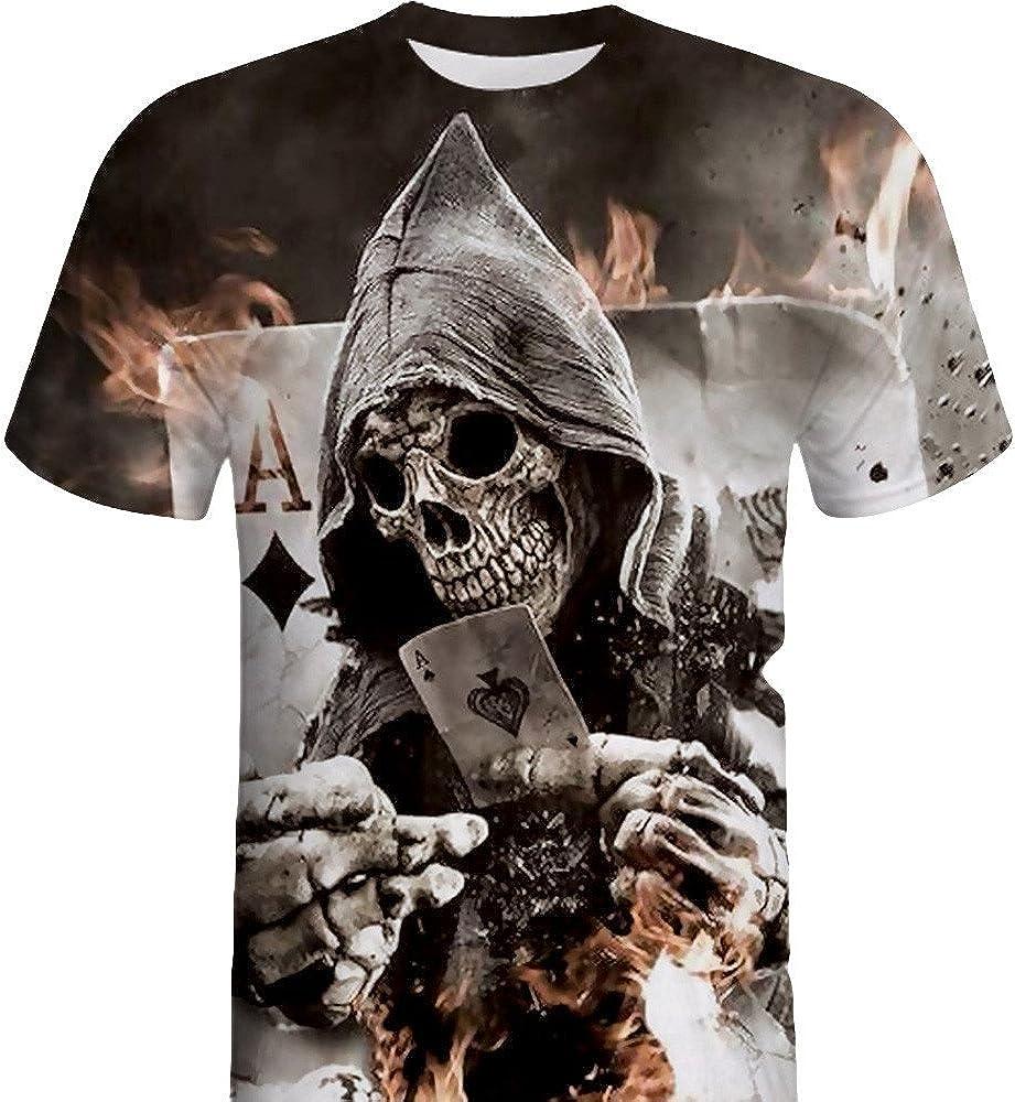 VEKDONE Men's Graphic T-Shirts Casual 3D Skull Printed Short Sleeve Tees Shirt Tops Blouse