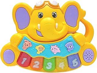 Popsugar Elephant Calf Electronic Music Organ Set with 3 Lights, Yellow