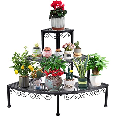 Metal Plant Stand//Flower Pot Display Rack Shelving//3 Tier Shoes Storage Shelf