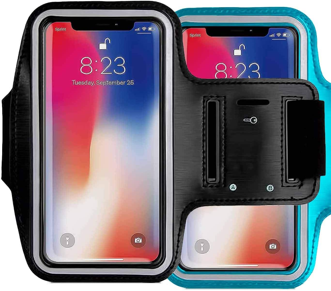 2Pack CaseHQ Water Resistant Cell Phone Armband Case Compatible with iPhone 12 iPhone 12 Mini iPhone 12 Pro Max iPhone 11, 11 Pro, 11 Pro Max, X, Xs Max, Xr, 8, 7, 6 Plus. Adjustable Band & Key Slot