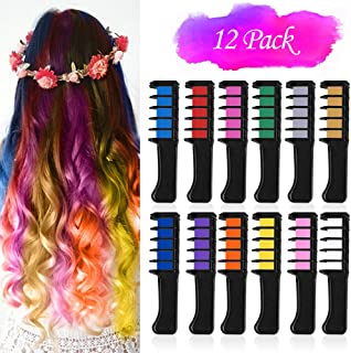 VSADEY 12 Color Hair Chalk for Girls Kids, Temporary Hair Chalk Color Comb with Shawl, Non-Toxic Washable Glitter Hair Col...