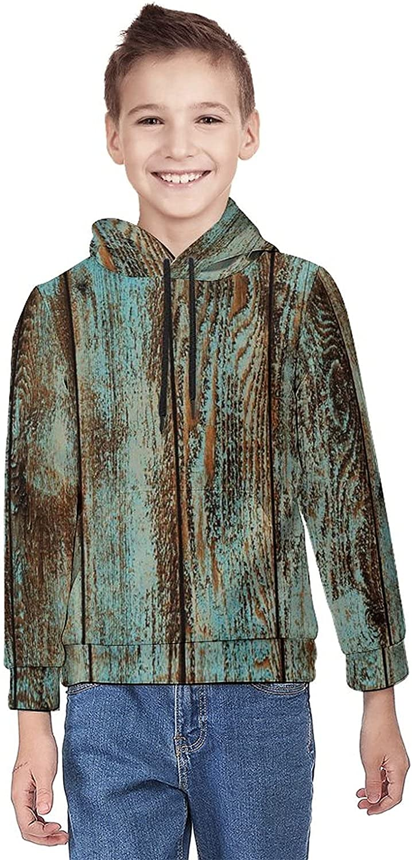 Kimisoy Teens Pullover Hoodie Vintage Wood Pattern Stripe Youth Sweatshirt Comfy Hooded Sweatshirt Loose Pull Over Hoodie