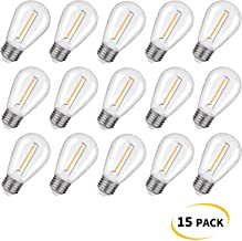 Emitting Shatterproof & Waterproof S14 Replacement LED Light Bulbs – 1W Equivalent to 10W, Non-Dimmable 2200K Plastic Bulbs, E26 Base Edison Bulbs (15 Pack)