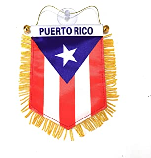 Best BUNFIREs Puerto Rico Small 4 X 6 Inch Mini Flag Banner Rearview Mirror Boricua Puerto Rican flag Fringed Window Hanging Review