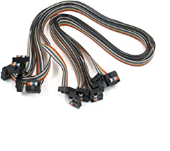 Antrader 60CM 10Pin USB ASP ISP JTAG AVR Wire 10P IDC 1.27mm Pitch Rainbow Flat Ribbon Data Cable Download Wire 2.54mm FC Dual Row Female to Female Sockets 6 Pieces