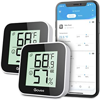 Govee Temperature Humidity Monitor 2-Pack, Indoor Room Thermometer Hygrometer with App Alert, Mini Bluetooth Digital Therm...