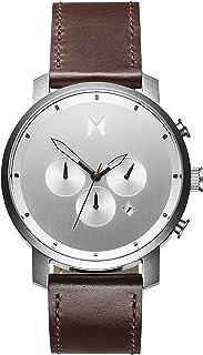 ساعة كرونوغراف للرجال بحزام جلدي بني ومينا فضي من ام في ام تي - D-MC01-SBRL