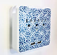 Glamsockets Decorative Wall Mount Surge Protector with 3 Outlets, Dual USB Charging Ports and Phone Holder - USB Charging Center/Multi Function Wall Tap (Santorini Blue Mosaic)