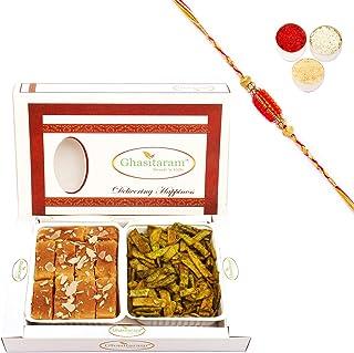 Ghasitaram Gifts Rakhi Gifts for Brothers Rakhi Sweets - Mysore Pak and Palak Potato Chips Hamper with Beads Rakhi