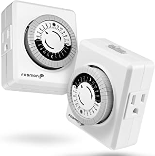 24 Hour Timer Outlet (2 Pack) Fosmon 3-Prong Dual Outlet Plug-in Mechanical Timer Grounded ETL Listed