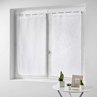 douceur d'intérieur Haltona Paire Droite Passants Effet Lin Tisse Haltona Polyester, Blanc, 160x60 cm