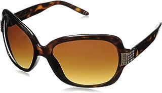 Foster Grant Women's April Oval Sunglasses, Tortoise/Brown, 54 mm