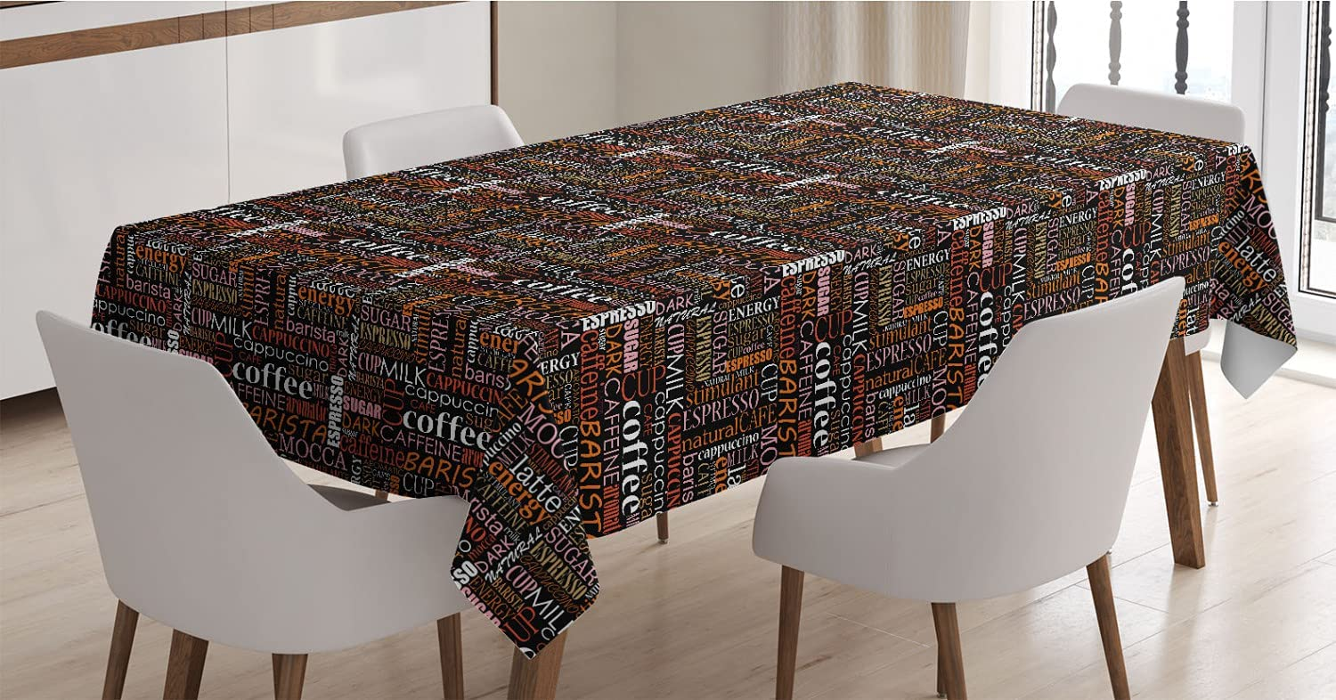 Ambesonne Coffee Tablecloth Colorful Typography of Industry No. 1 Limited price Pattern Vert