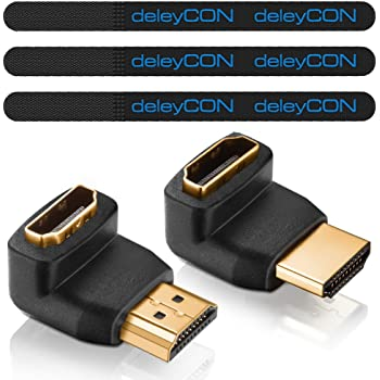 Deleycon HDMI Sets Available – Velcro Cable Ties + HDMI Cable + Adapter + Microfiber Cleaning Cloth