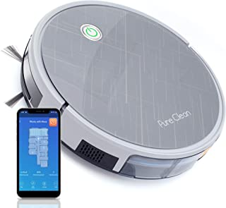"""Pure Clean Robotic Vacuum Cleaner - 2000Pa Suction - Wifi Mobile App and Gyroscope Mapping - Ultra Thin 3.0"""" Height - Rotating Squeegee Cleans Hard Dirt PUCRC660, Grey"""
