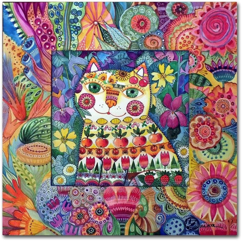 Trademark Fine Art Cat by Oxana Ziaka, 14x14 Canvas Wall Art