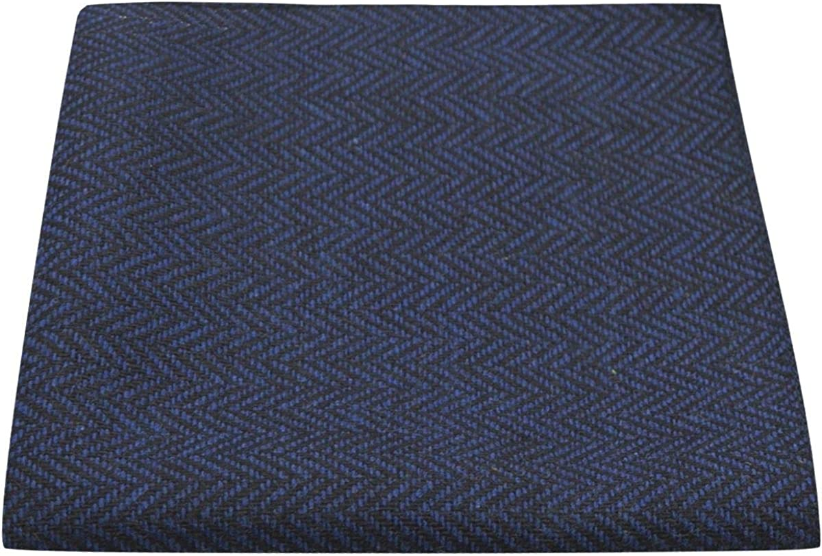 Midnight Blue & Black Herringbone Pocket Square, Handkerchief