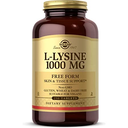 Solgar L-Lysine 1000 mg, 250 Tablets - Enhanced Absorption and Assimilation - Promotes Integrity of Skin and Lips - Collagen Support - Amino Acids - Non-GMO, Vegan, Gluten Free - 250 Servings