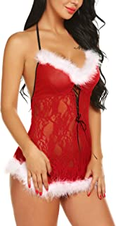 RSLOVE Women's Christmas Sleepwear Set Santa Sexy Lingerie Dress Lace Teddy Red Babydolls Chemise