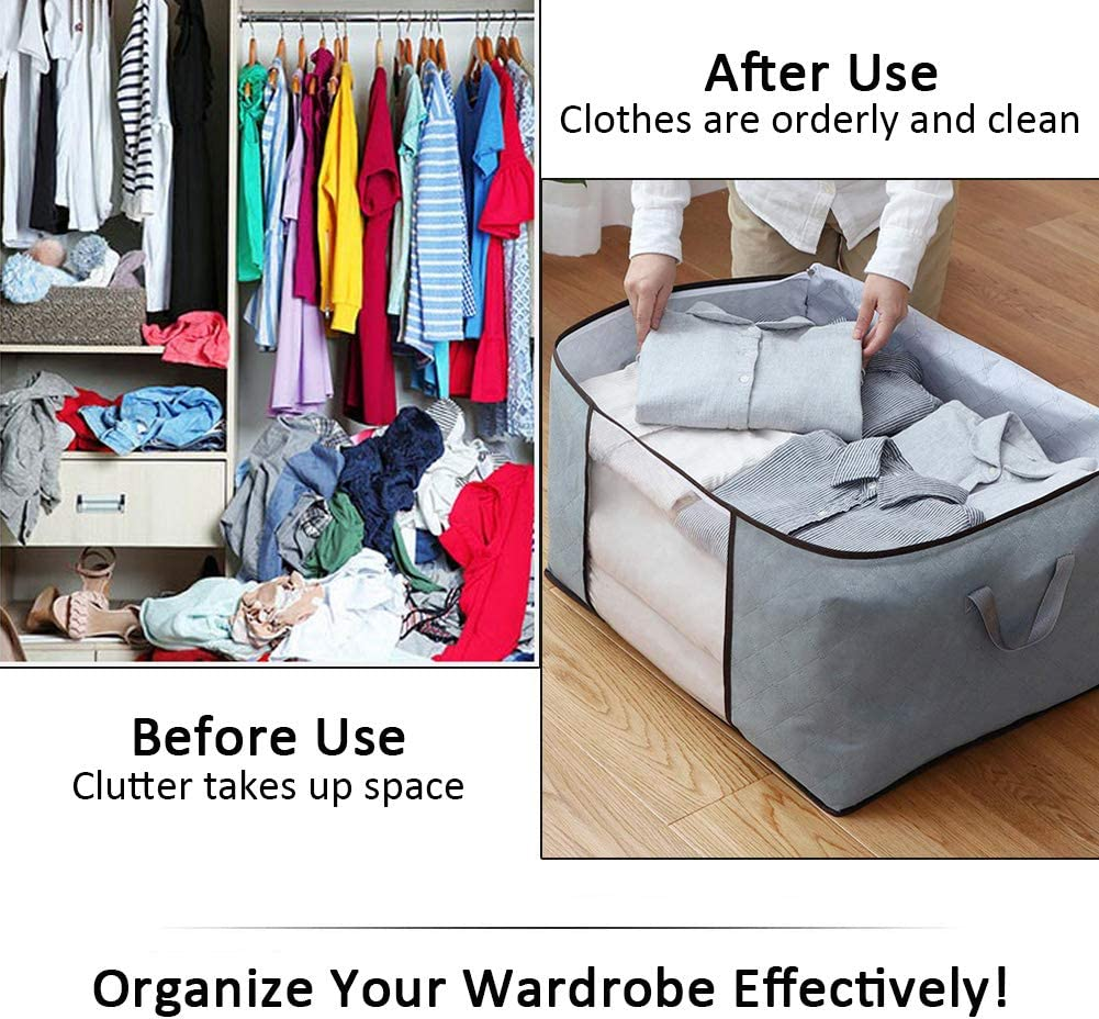 Bedding Grey Foldable Organizer Underbed Storage Bags with Clear Windows 3 PCS Duvet Storage Bag King Size Blankets Clothing Storage Bags for Quilt Large Capacity Clothes Storage Bags with Zips