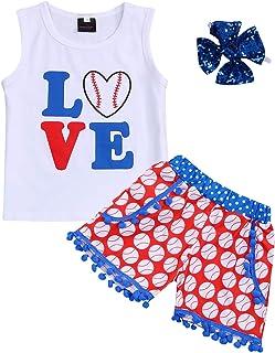YOUNGER TREE Kids ToddlerBaby Girls Shorts Outfits Set Baseball Love Print Vest T-Shirt Tops+Tassel Short Pants Summer Clothes Set