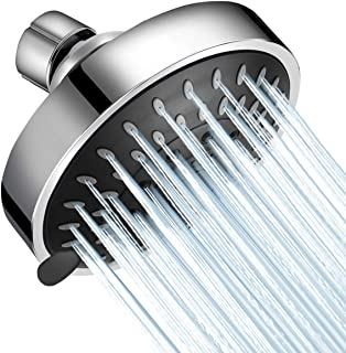 WarmSpray Shower Head High Pressure 4 inch 5 Functions Rainfall Shower Head Chrome- Adjustable Metal Swivel Ball Joint with Filter- Ultimate Shower Experience Even at Low Pressure and Water Flow