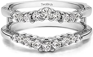 0.71 Ct. Vintage Ring Guard with Filigree Designs in Sterling Silver with Cubic Zirconia